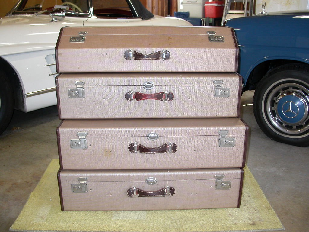 1958 mercedes benz 180 luggage stack