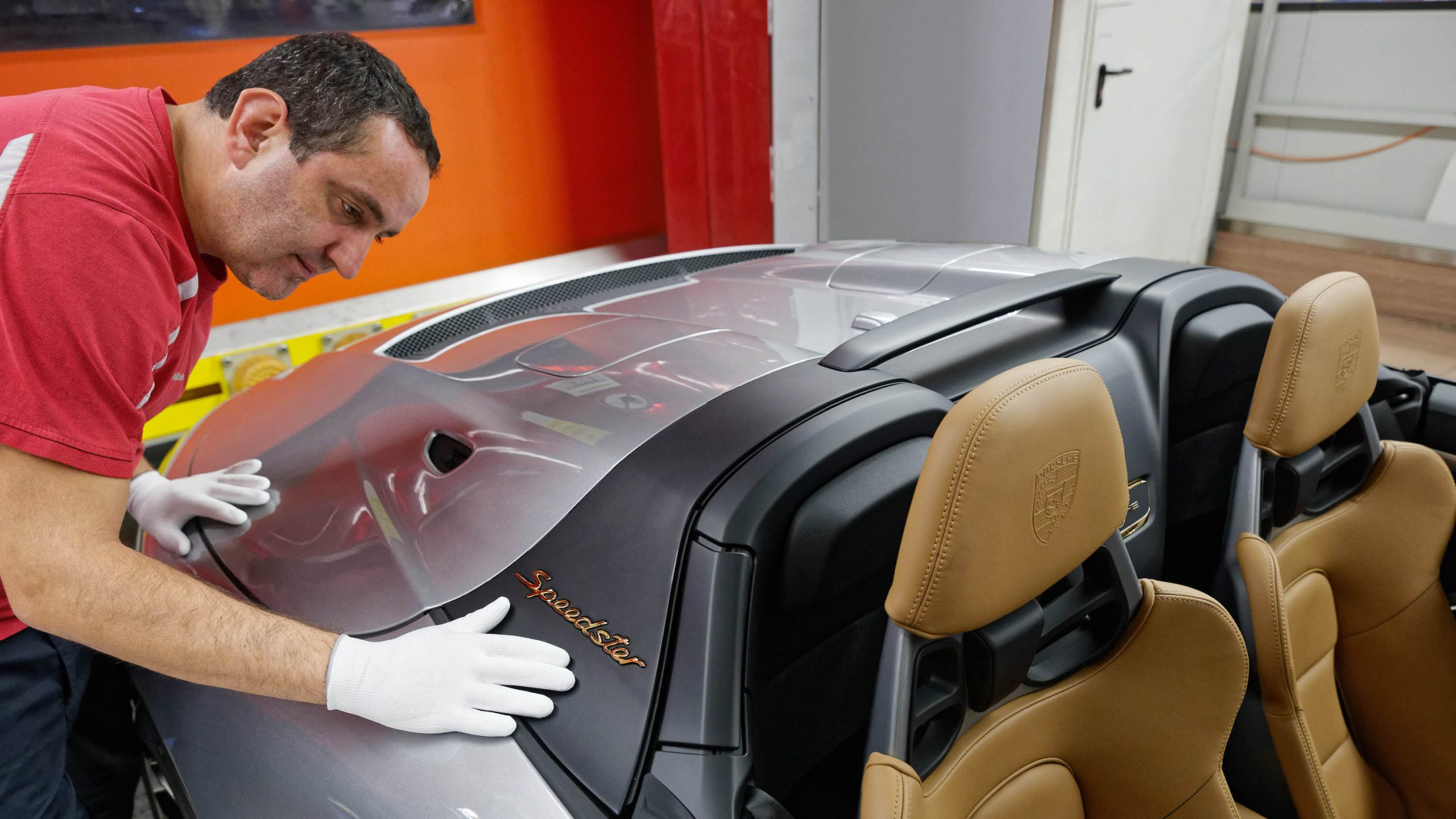 2019 Porsche 911 Speedster Heritage Design Employee Inspects Badging