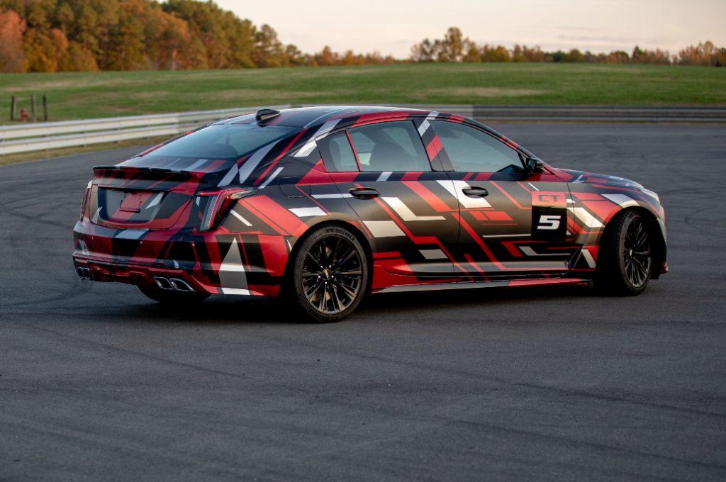 2020 Cadillac CT5-V Blackwing rear three quarter camo
