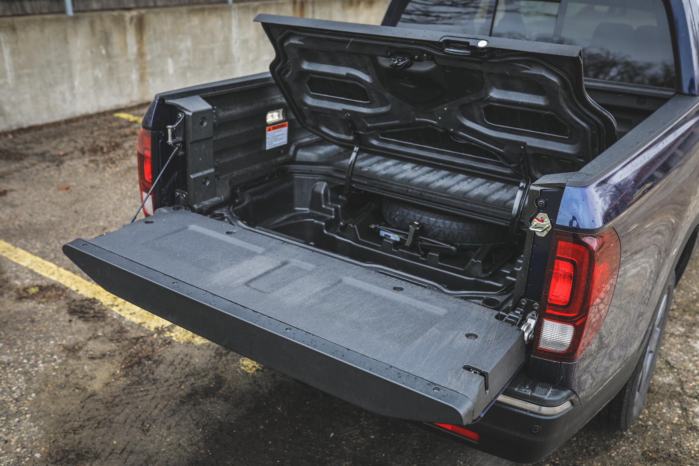 2020 Honda Ridgeline RTL-E rear tailgate down secret compartment open angle