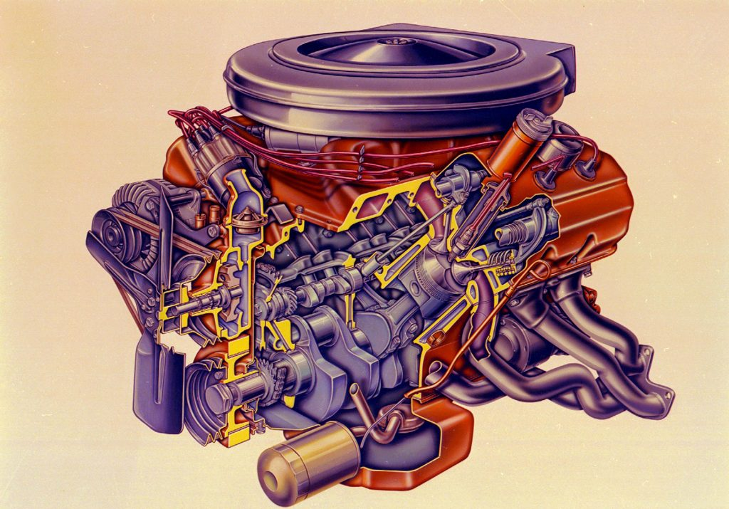 1963-65 Hemi engine cross section illustration