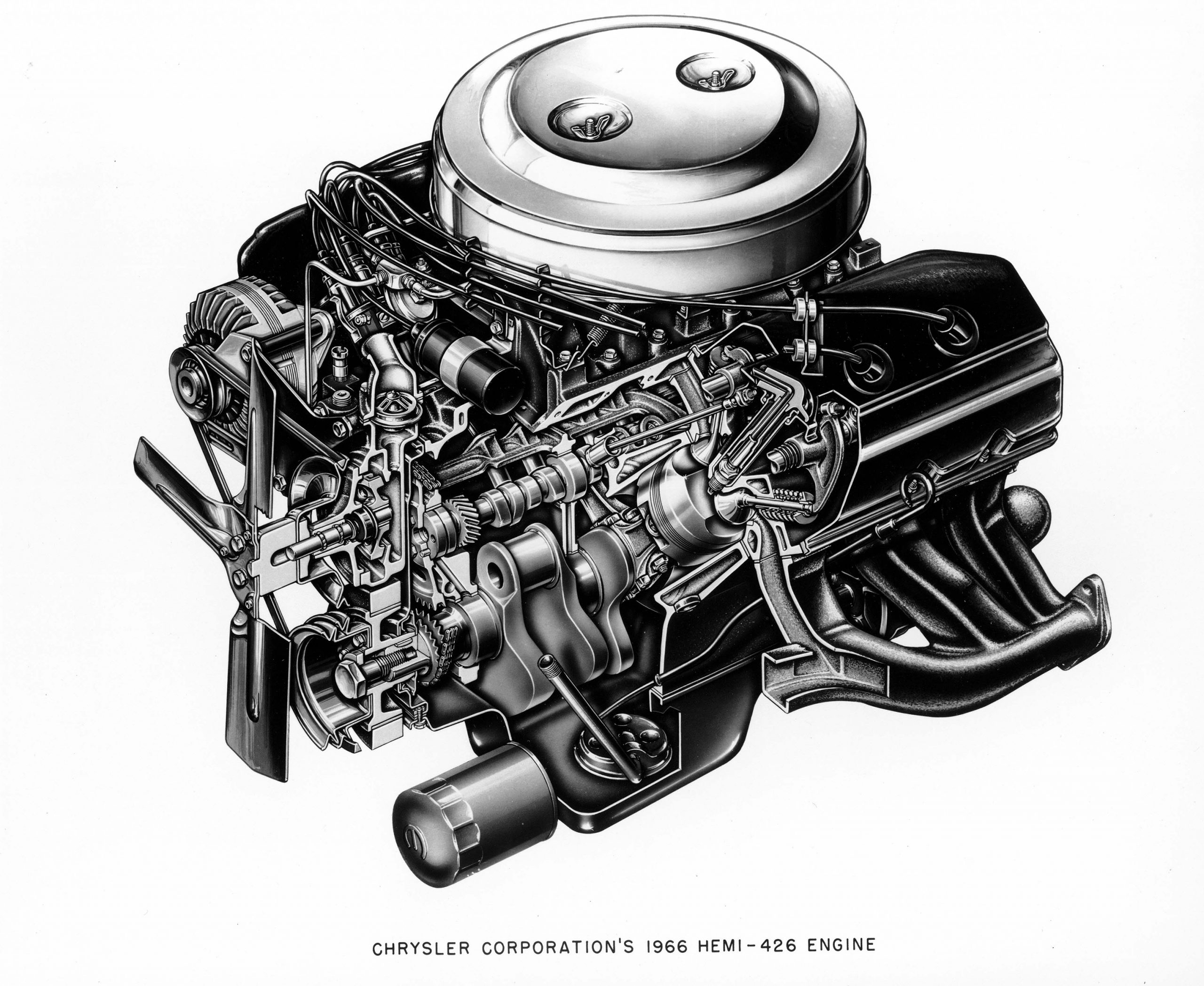 1966 Chrysler Corporation's HEMI - 426 Engine - cutaway