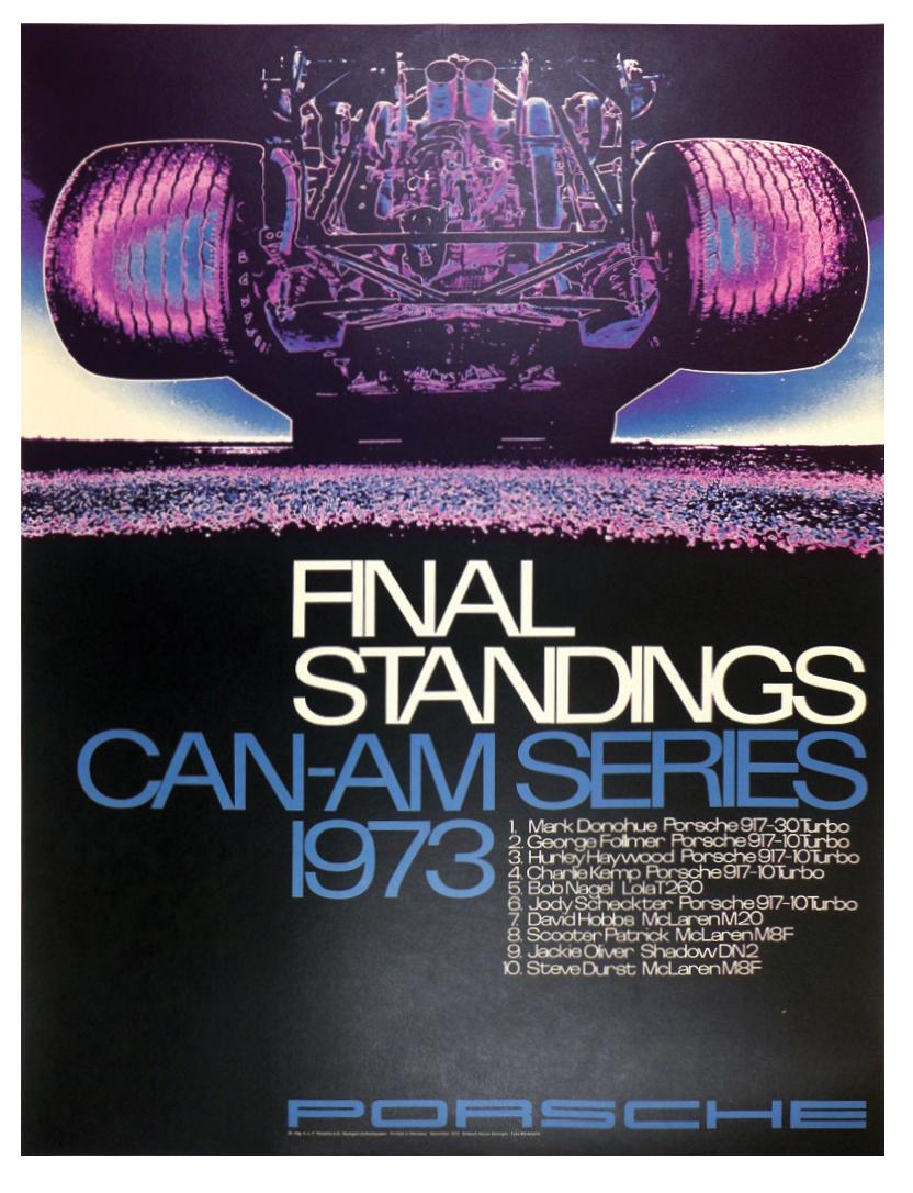 Final Standings Can Am Series 1973 Porsche ad