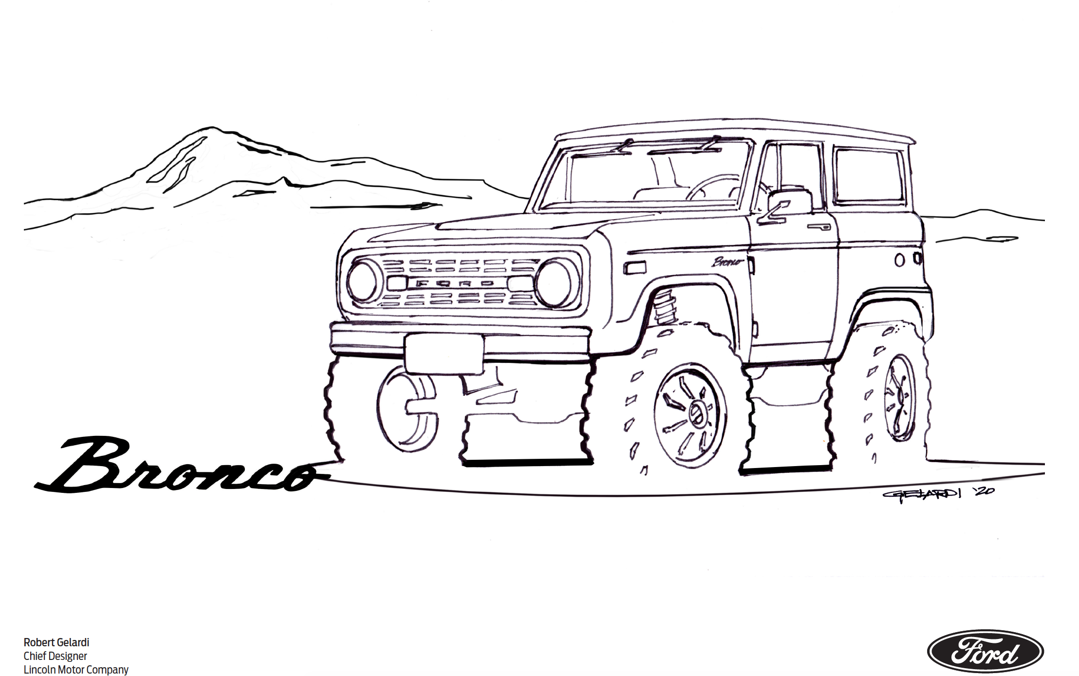 Ford Bronco coloring book page