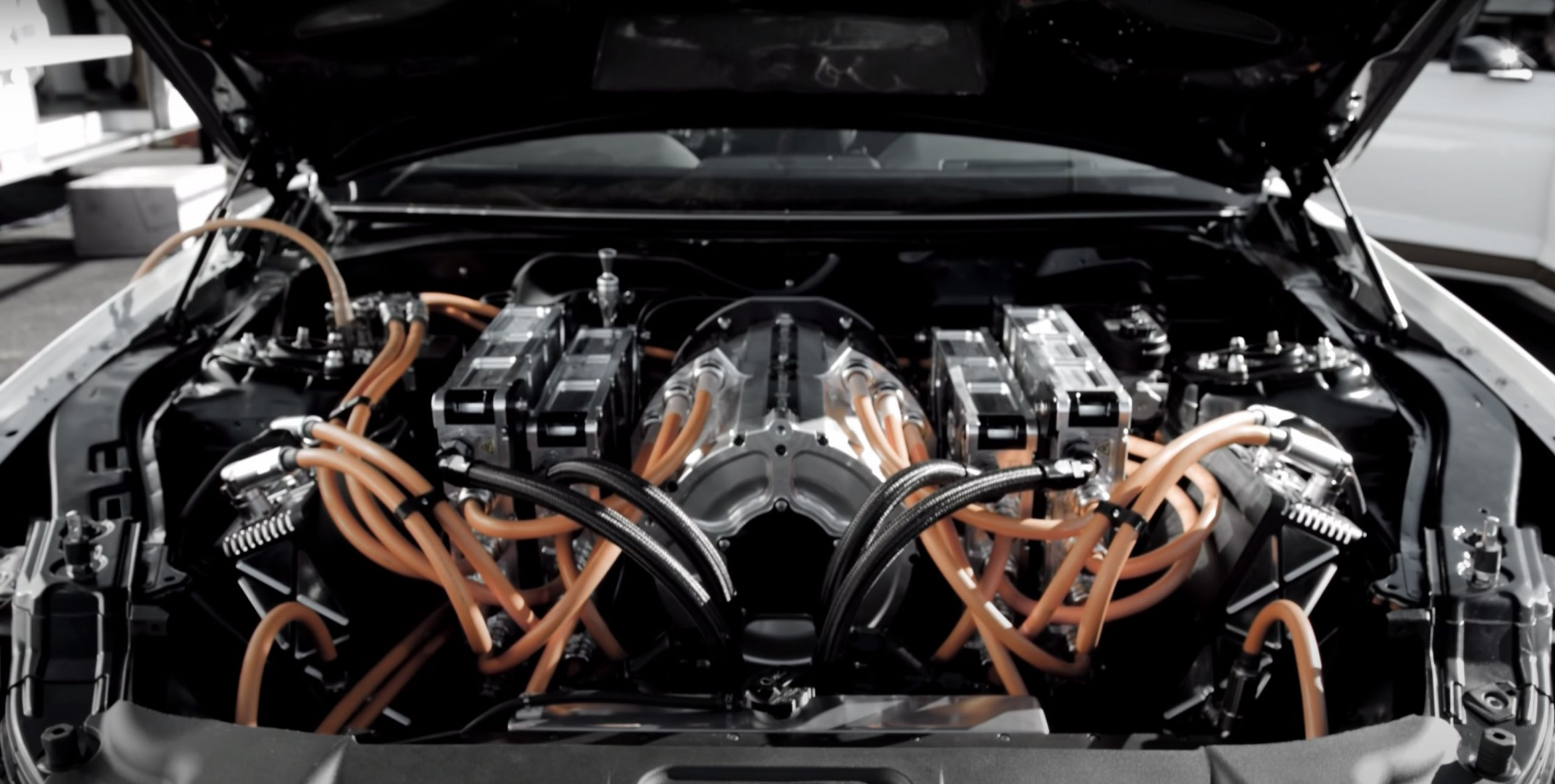 All-Electric Mustang Cobra Jet 1400 engine bay