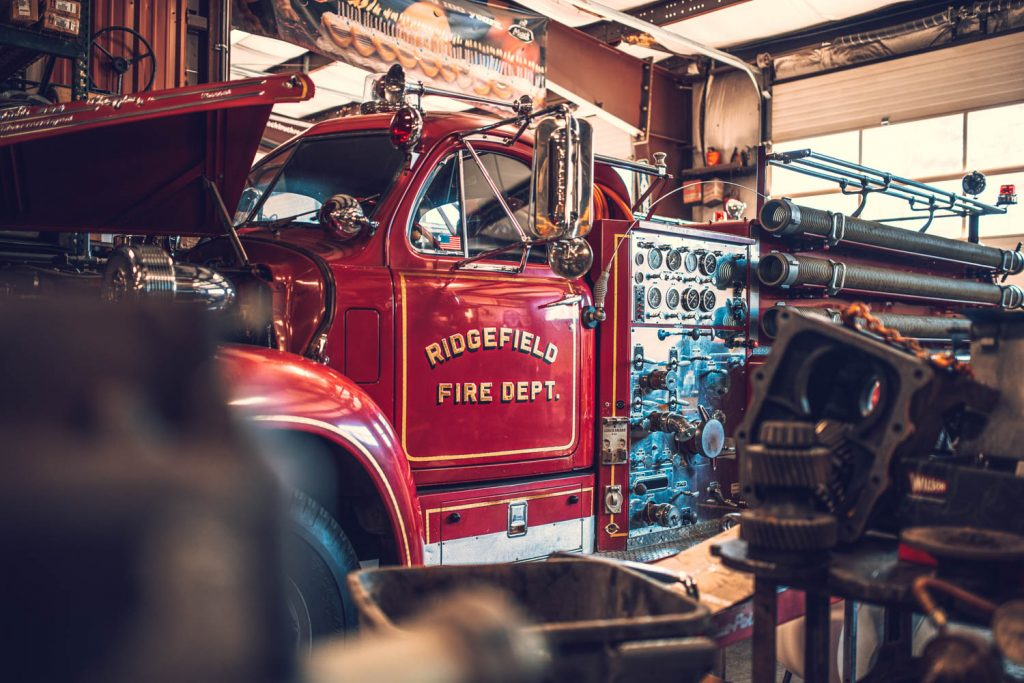 firetruck in repair shop
