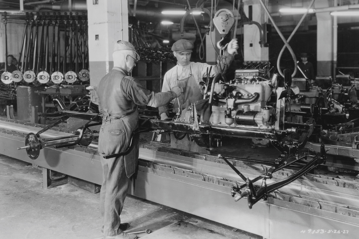 1927 Model T Touring 15 millionth engine assembly line