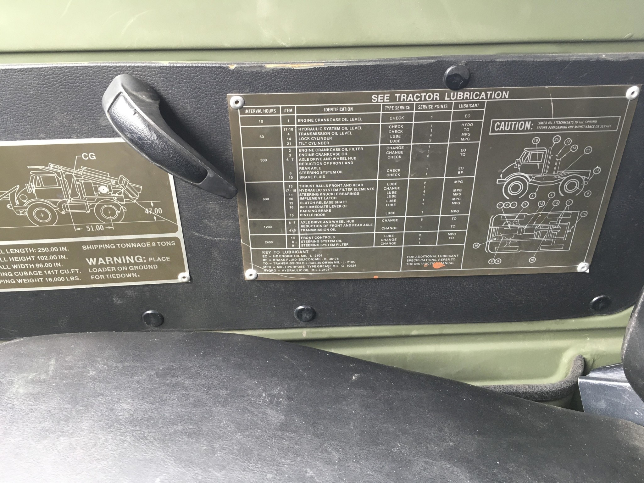1989 Freightliner Unimog 419 placards