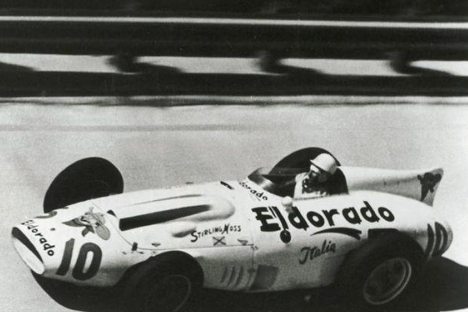 Sir Stirling Moss Racing Action in Black and White