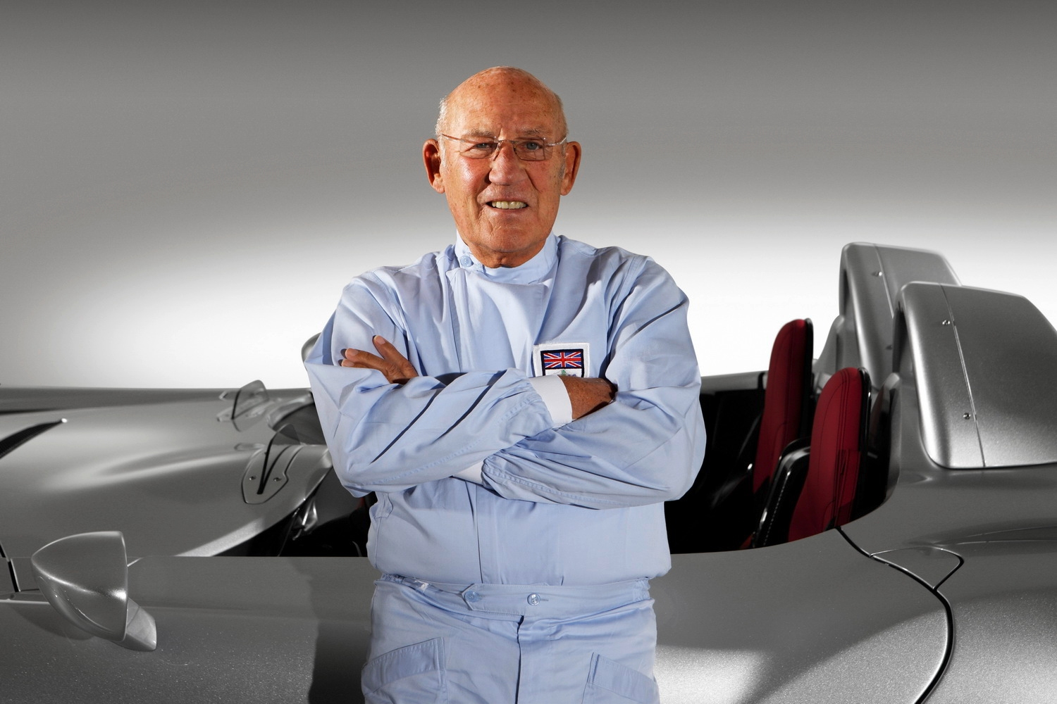 Sir Stirling Moss Arms Folded with Mercedes Benz