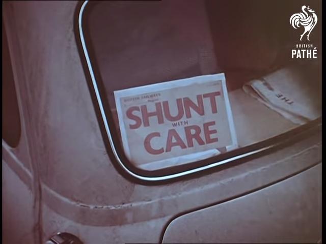 1960 British Pathe Mini Shunt with Care Sticker