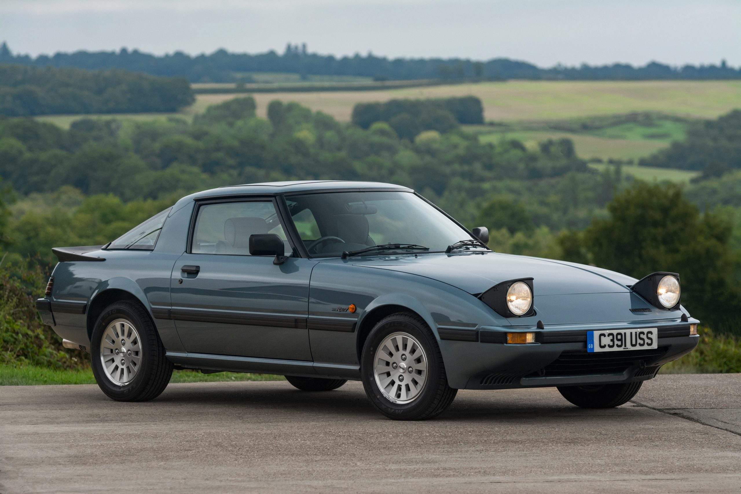 first gen Mazda RX-7 front three quarter