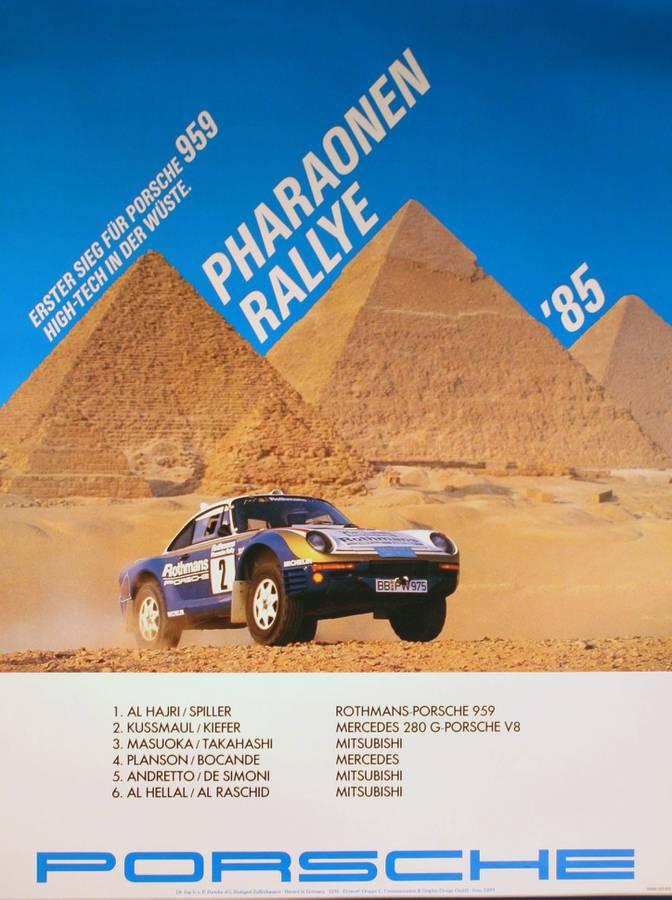 1985 Porsche 959 Egypt rally poster