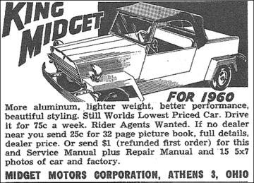 king midget ad 1960