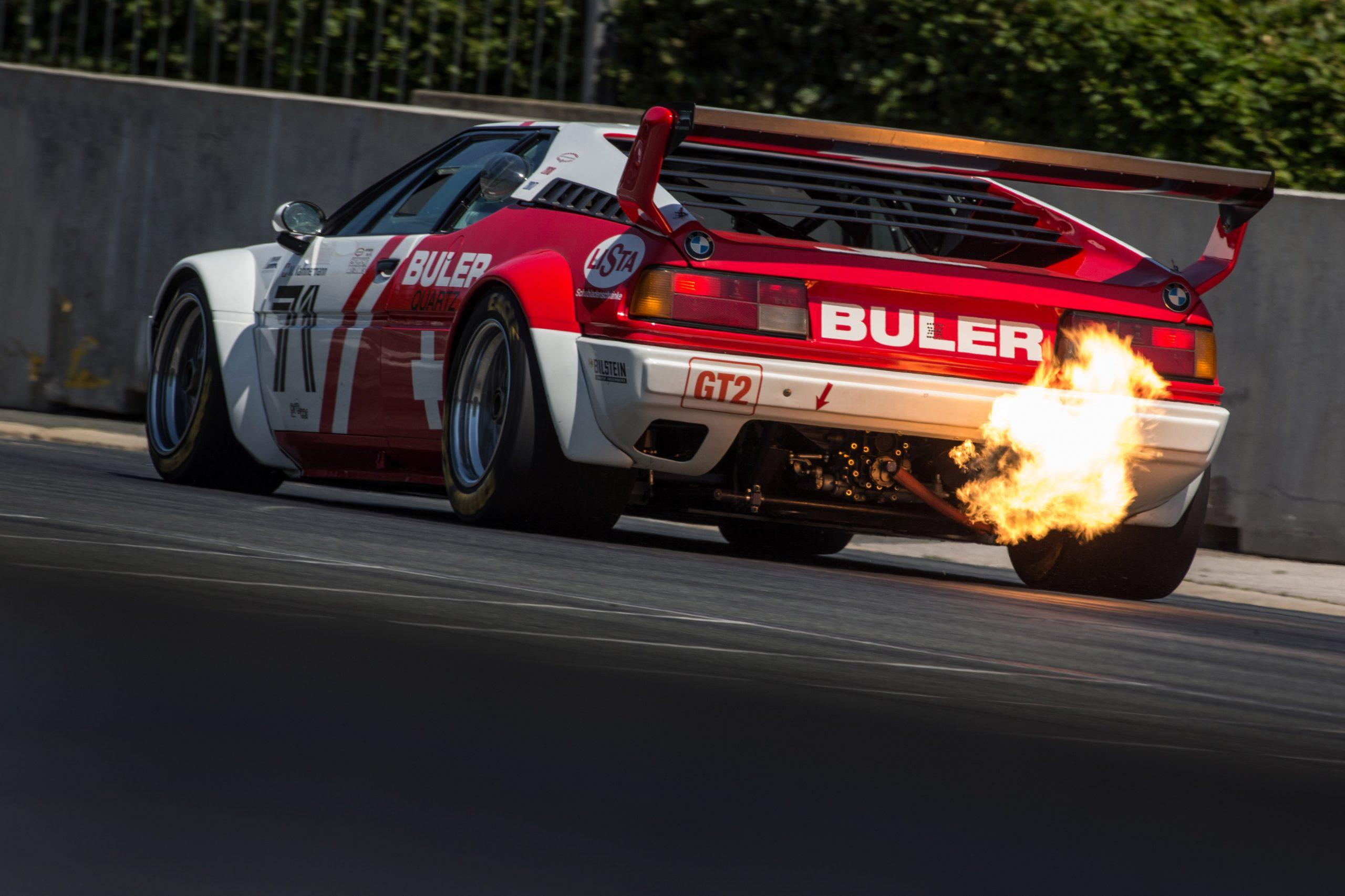 bmw m1 procar rear flames norisring track