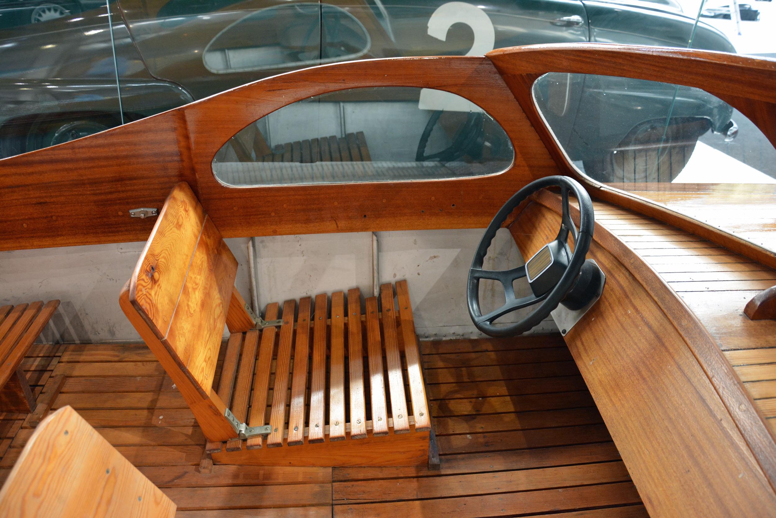 Saab Museum boat interior captains seat