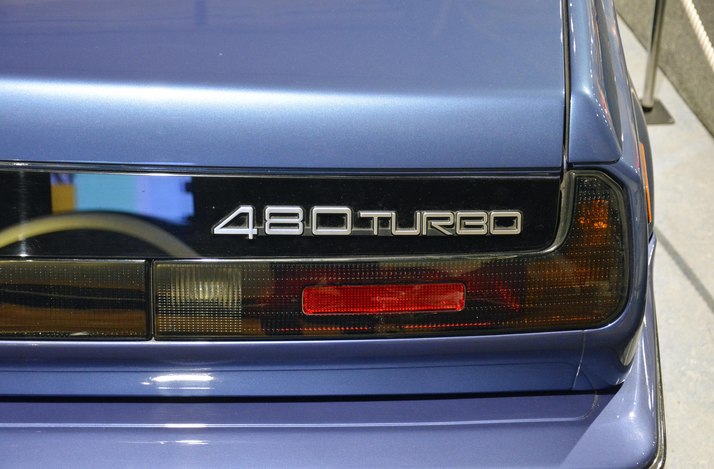 saab museum volvo 480 turbo convertible badge detail