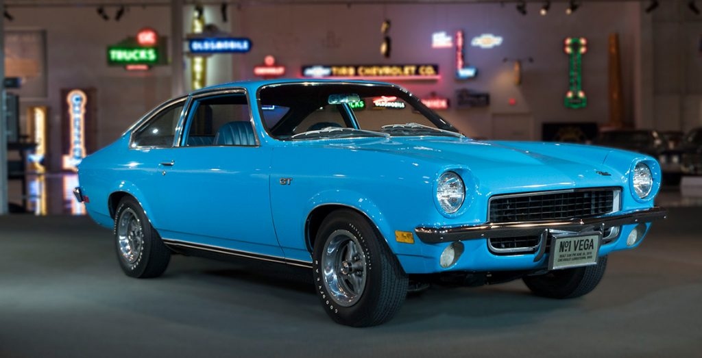 1971 Chevrolet Vega front three-quarter at gm heritage center