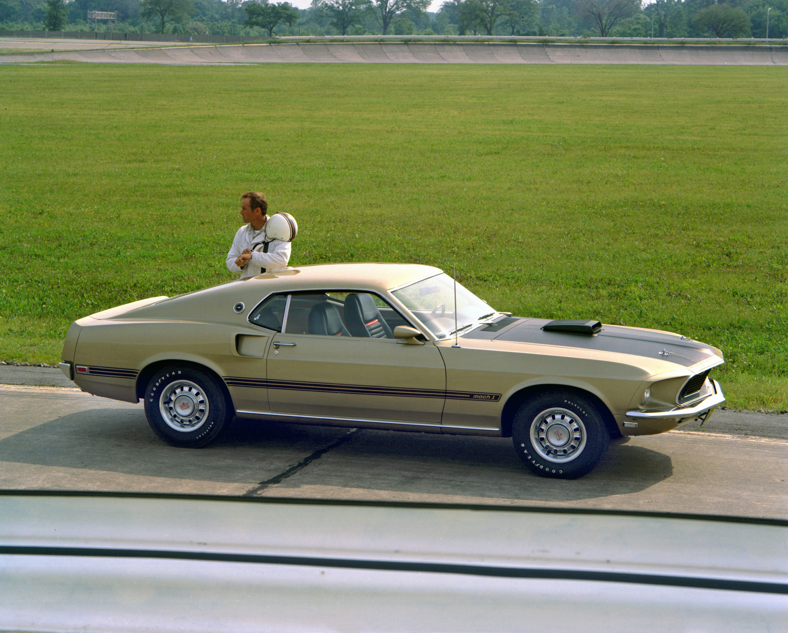 1969 Ford Mustang Mach 1 Fastback Side Profile At Track