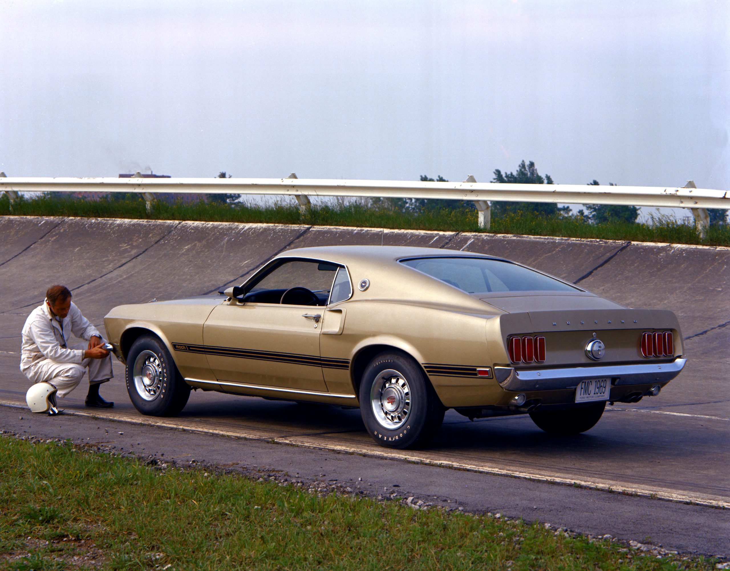1969 Ford Mustang Mach 1 Fastback Rear Three-Quarter At Track