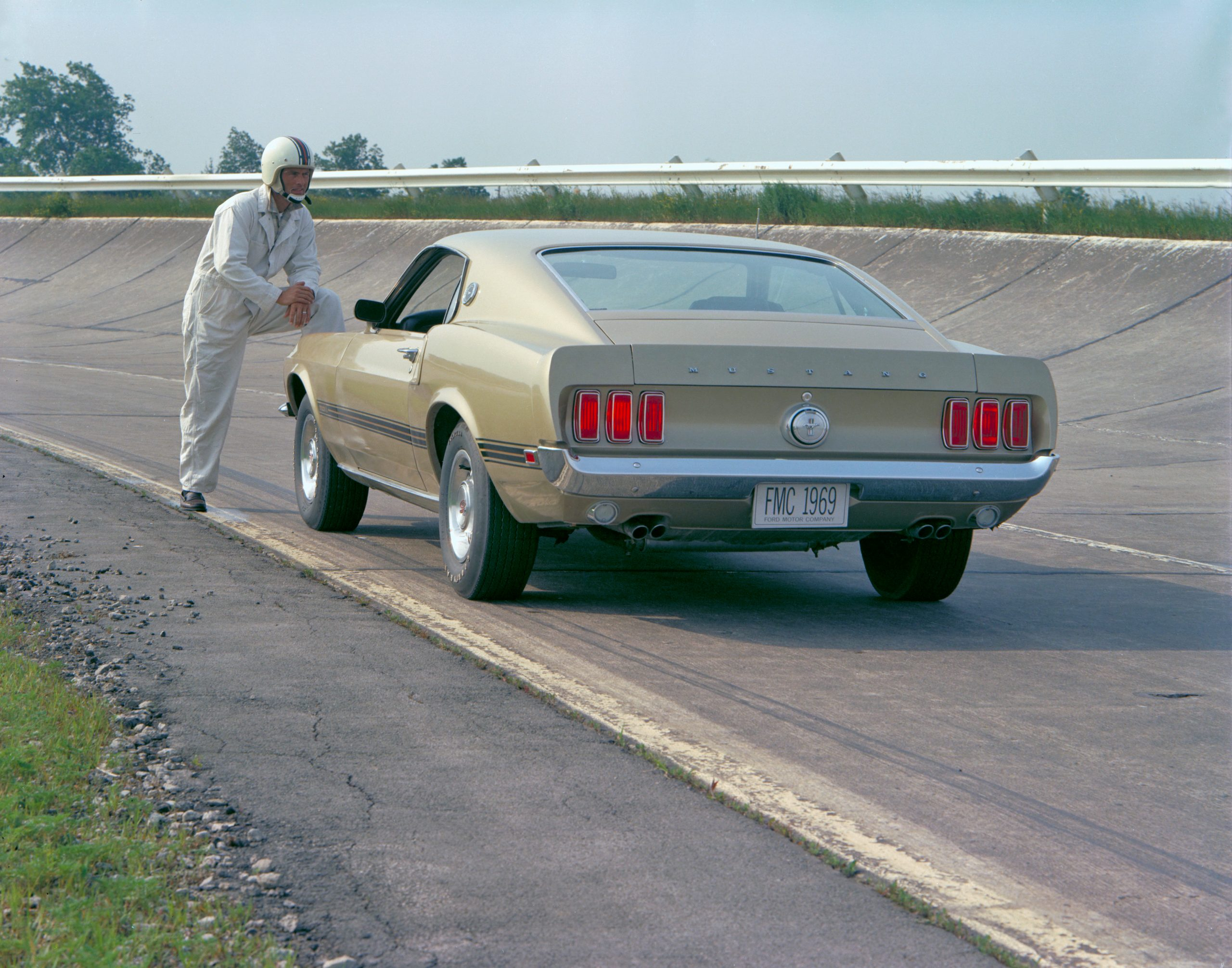 1969 Ford Mustang Mach 1 Fastback Rear Three-Quarter On Track