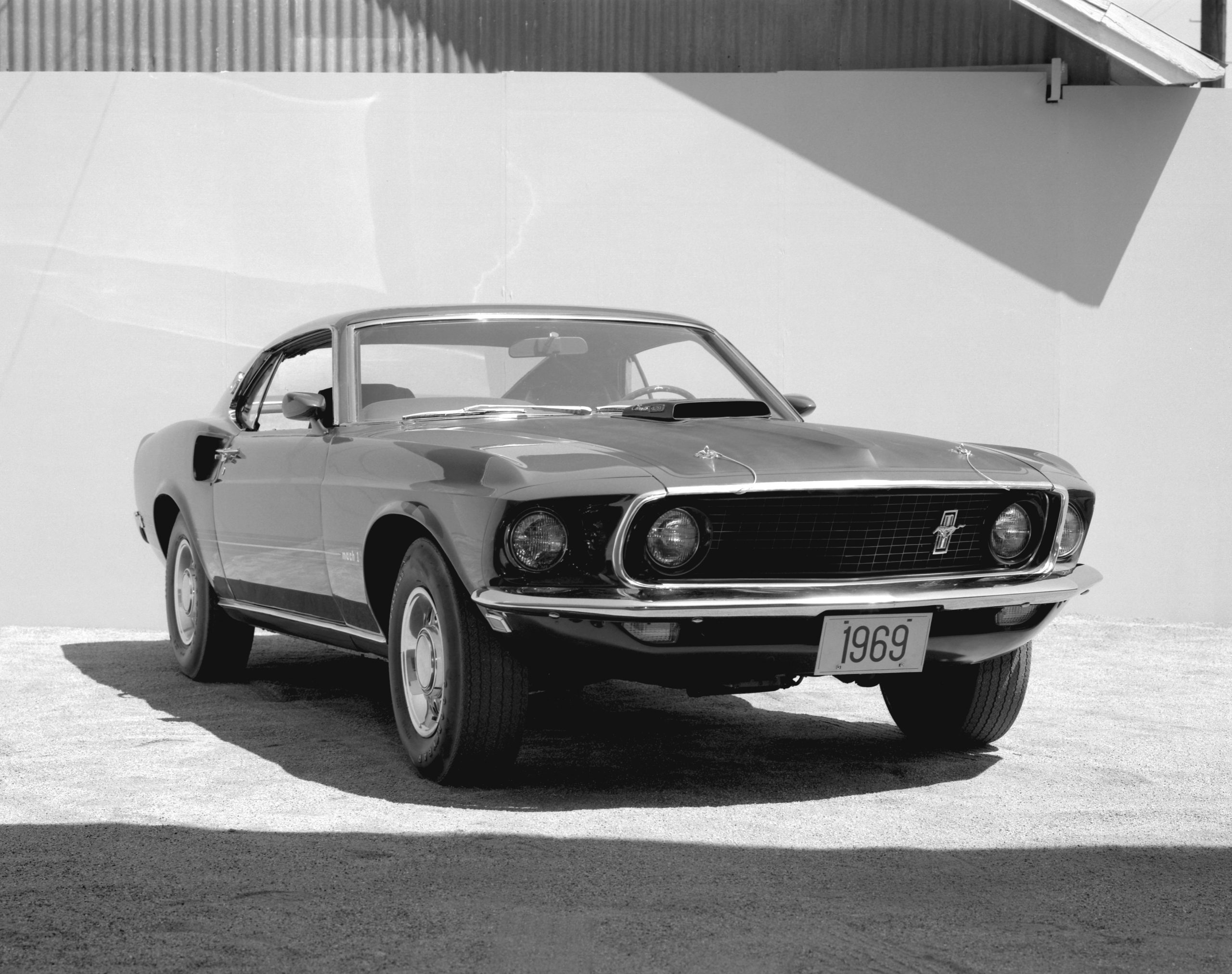 1969 Ford Mustang Mach 1 Fastback Front Three-Quarter Black and White