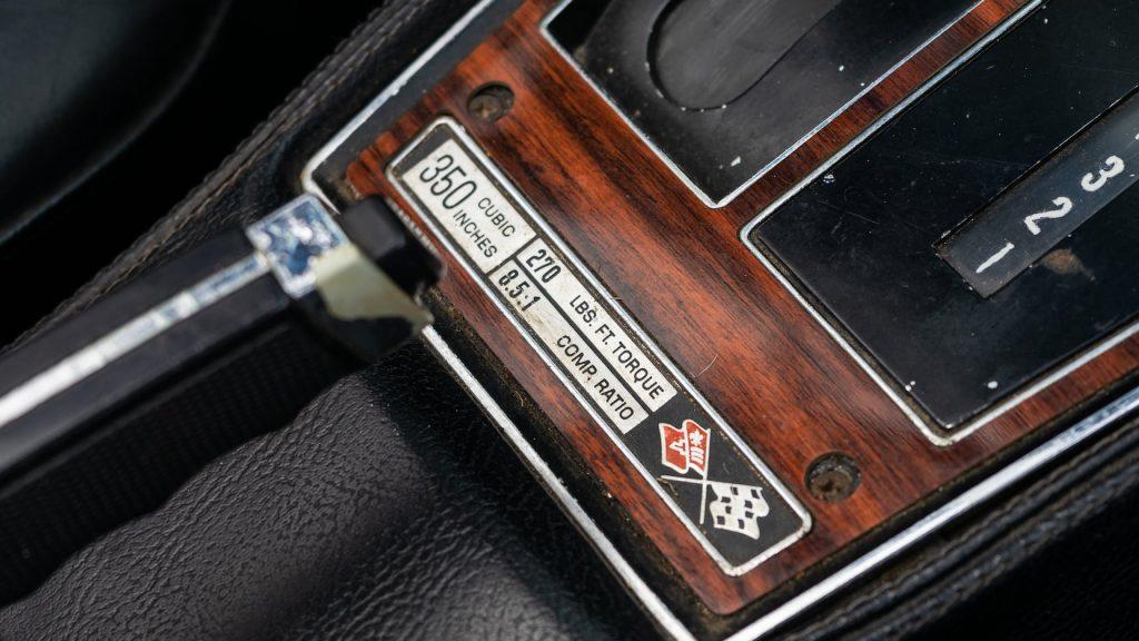 1975 Chevrolet Corvette Coupe Engine Console Badge