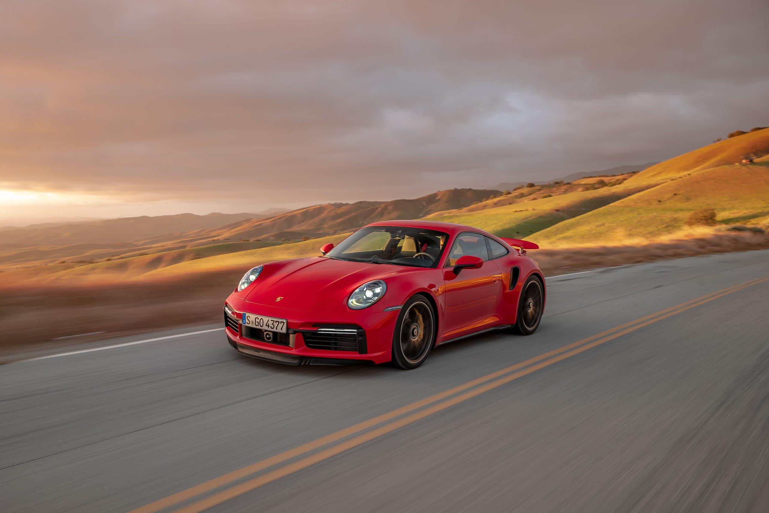 2021 Porsche 911 Turbo S Front Three-Quarter Sun On Hills