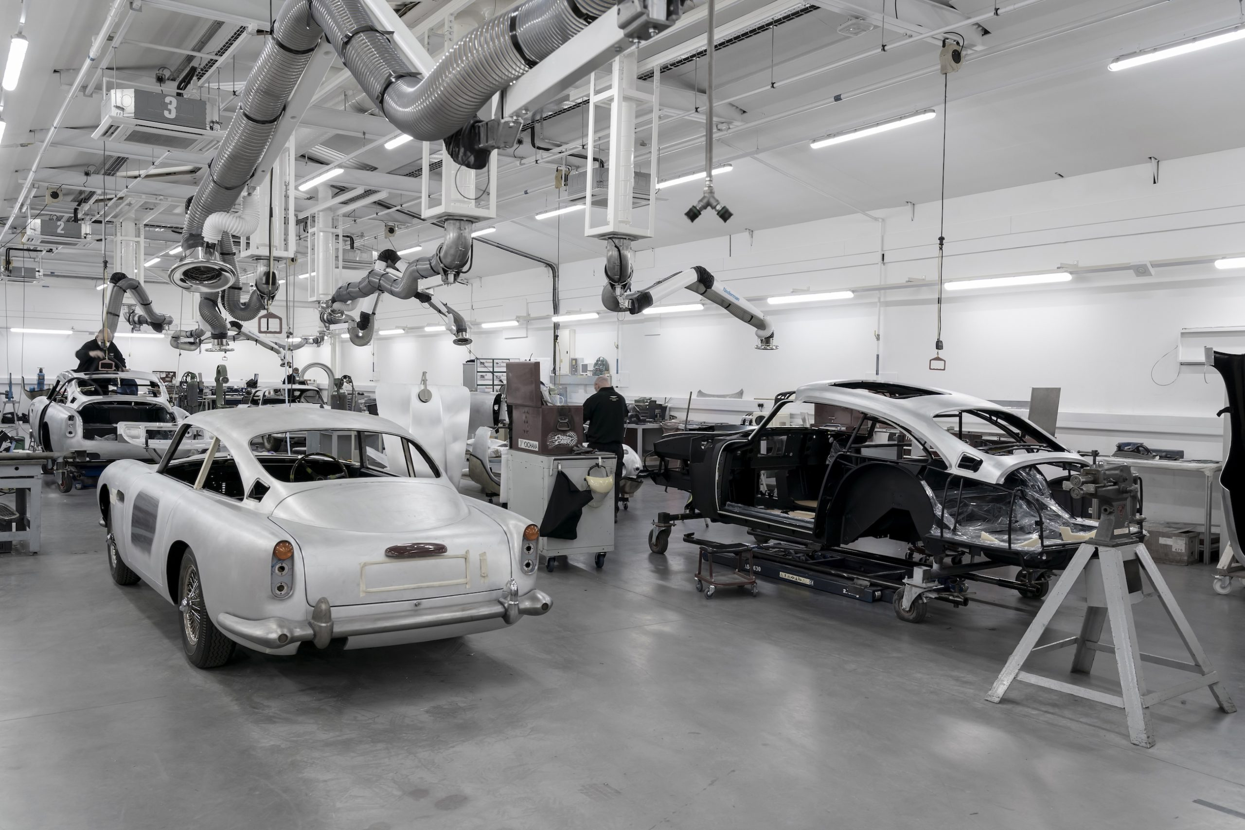 James Bond DB5 Goldfinger Body And Chassis Rear Three-Quarter In Factory