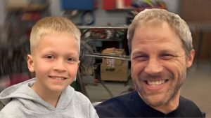 A special guest helps Davin out in his home race shop