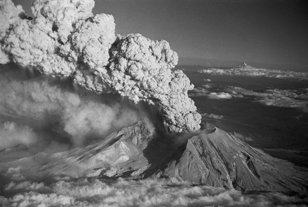 Mt. St. Helens Erupting Cloud of Smoke Aerial