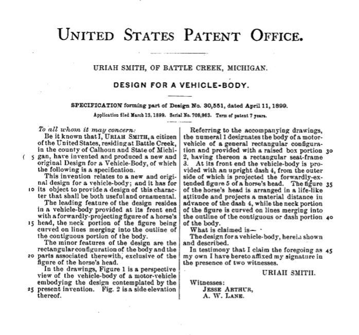 Horsey Horseless - 1899 U.S. Patent copy
