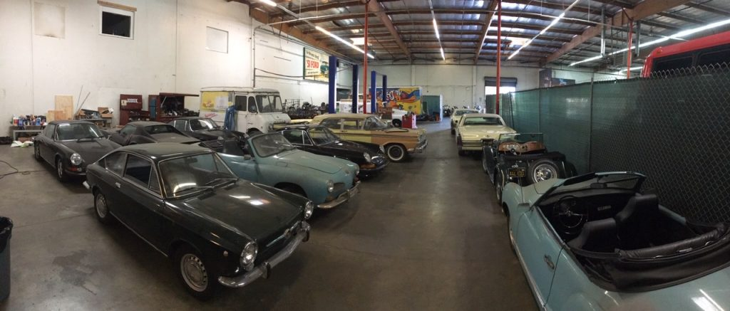 Movie Car Props Parked in Warehouse