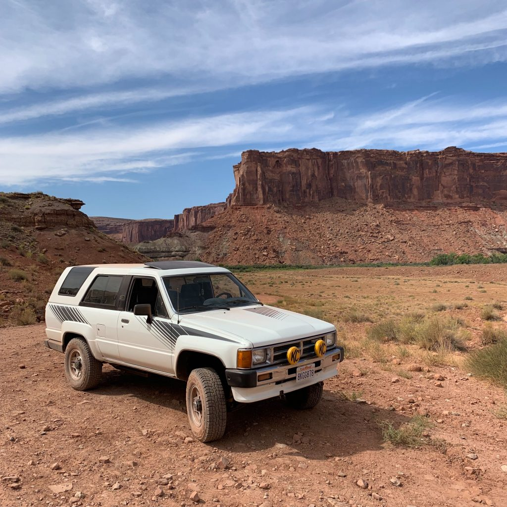 Logan Calkins 1987 Toyota 4 Runner desert front three quarter