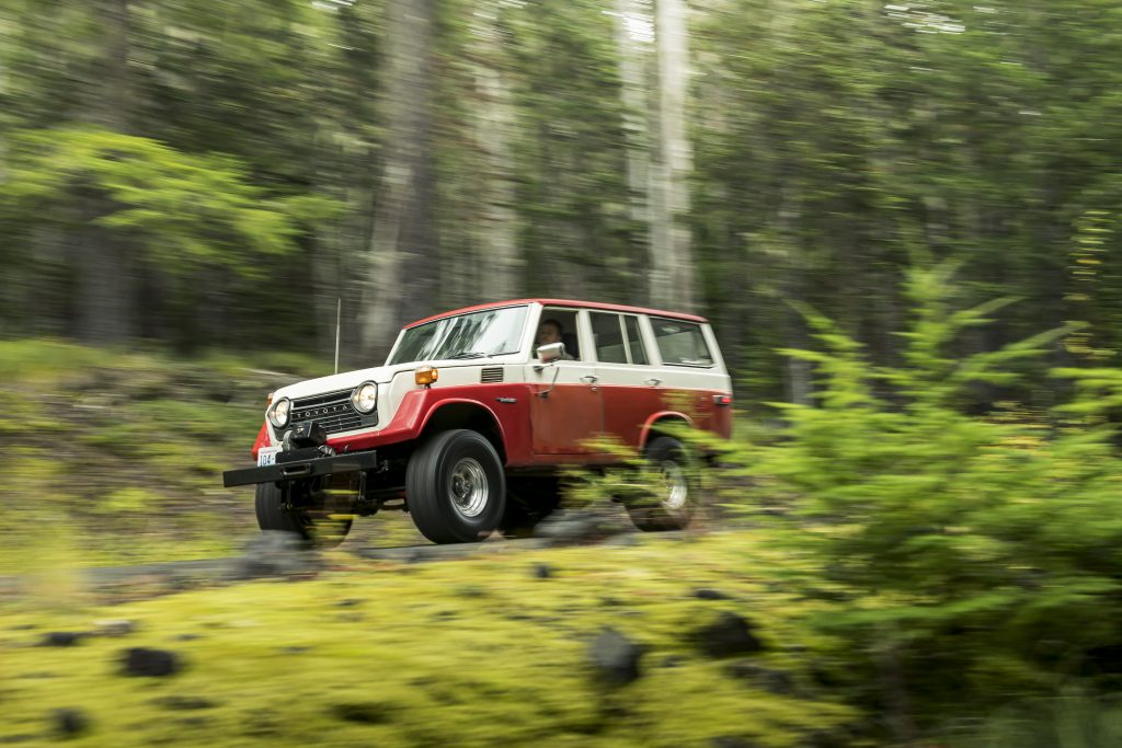 FJ55 Land Cruiser Front Three-Quarter Action On Backroad