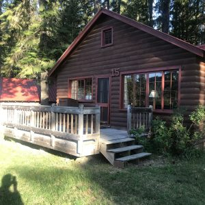 rustic lodge front exterior on overnight stay