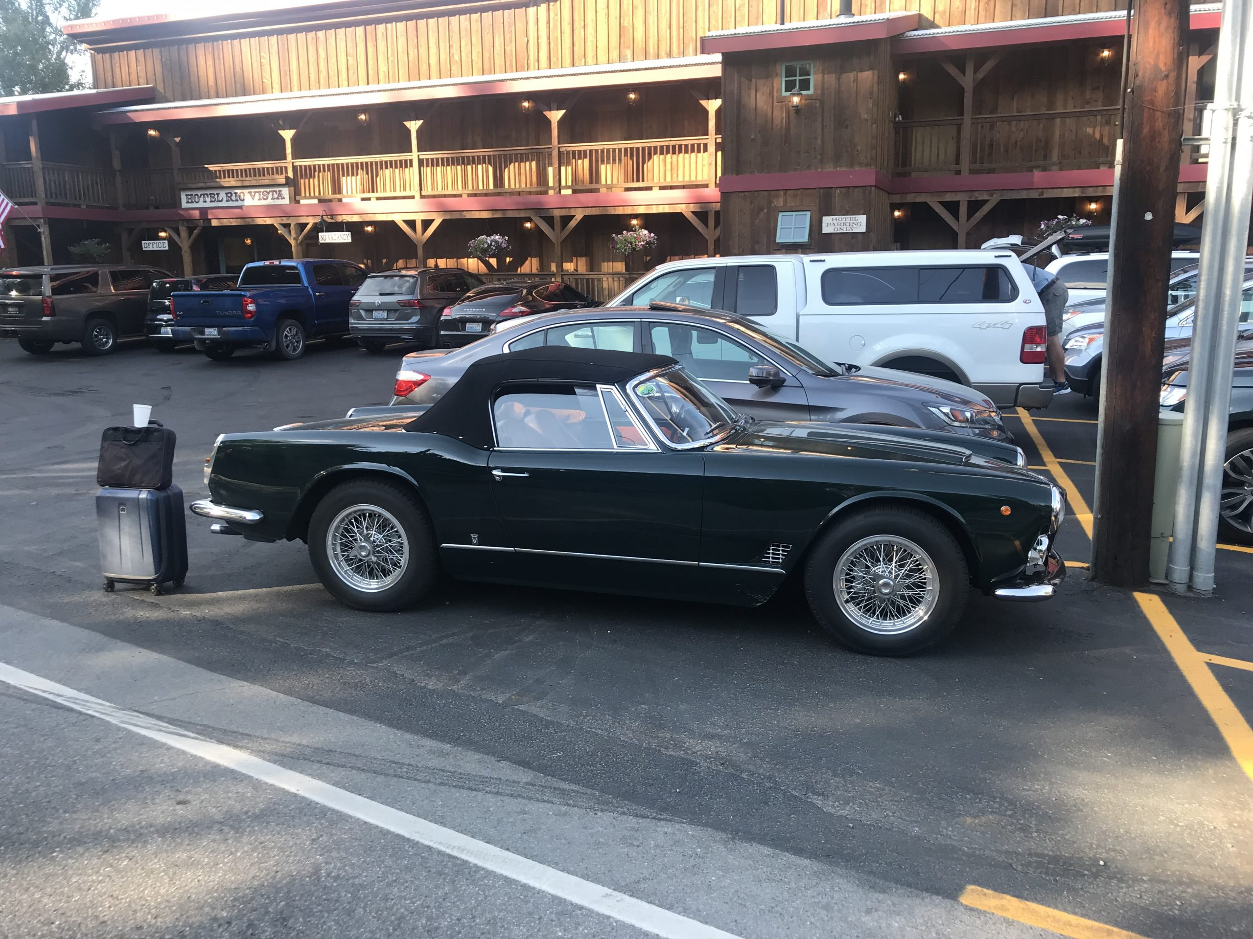 vintage maserati vignale spyder in hotel rio vista parking lot