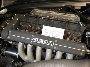 vintage maserati vignale spyder engine with note