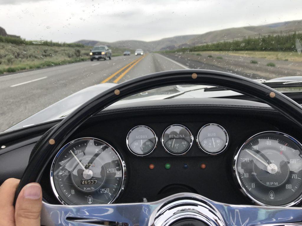 driving behind wheel of vignale spyder