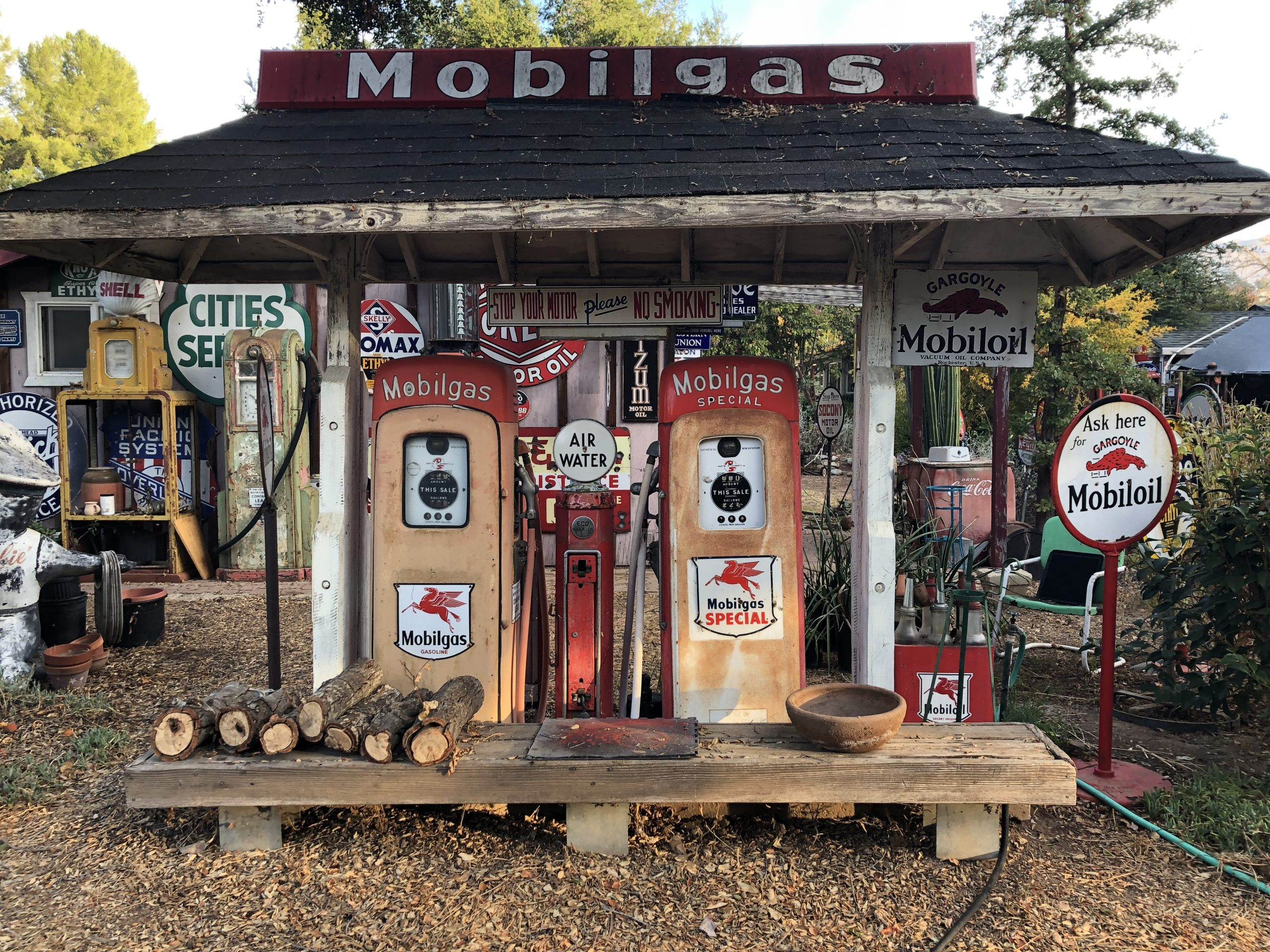 vintage mobilgas pumps and signs