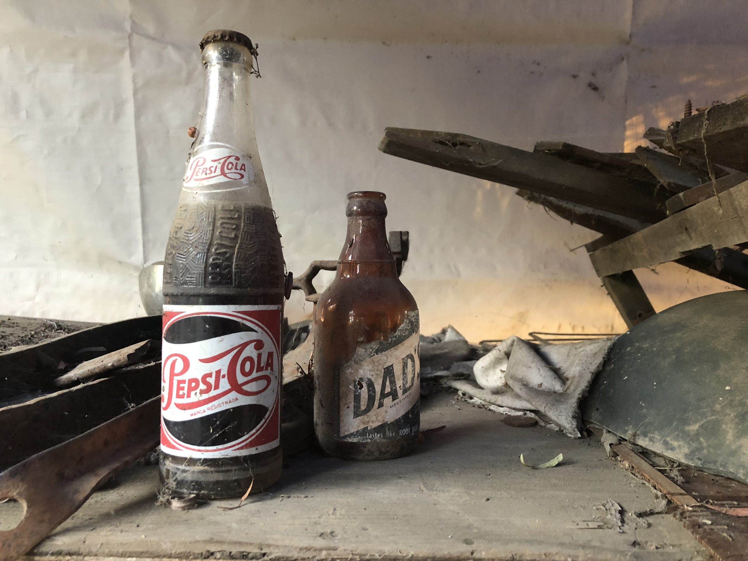 vintage pepsi cola and dads bottles