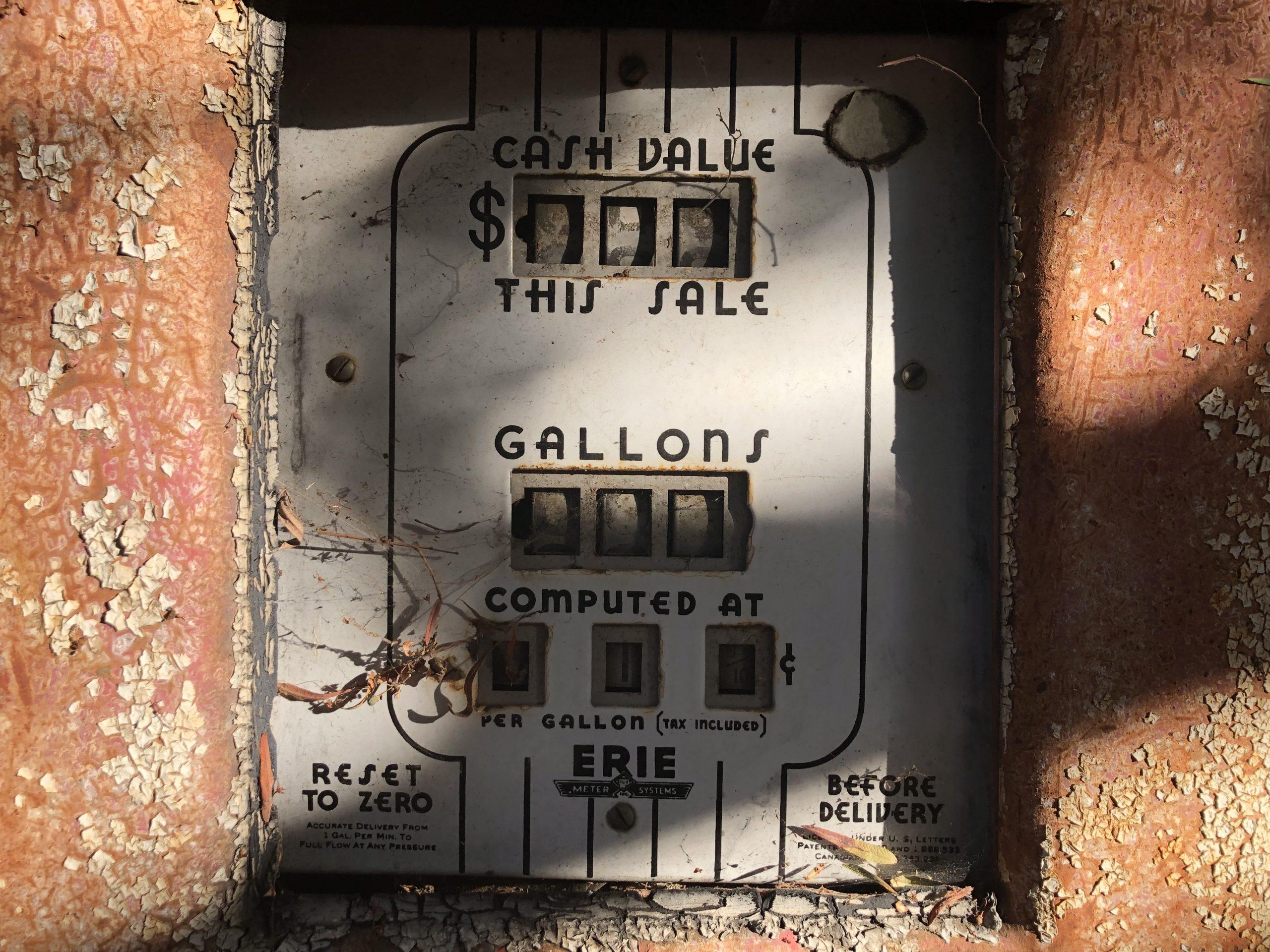 erie gasoline pump meter close up