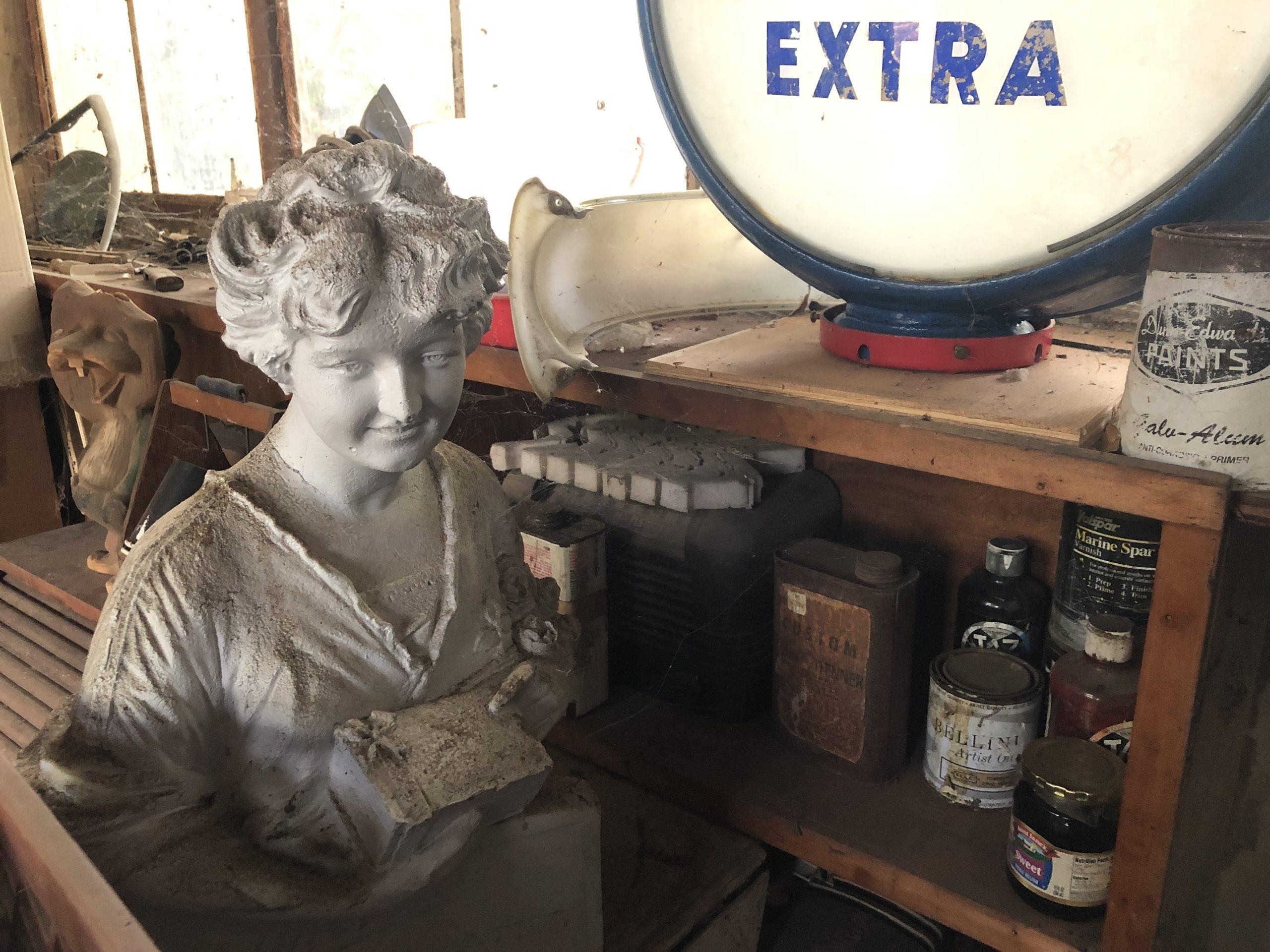 vintage sculpture art with antiques