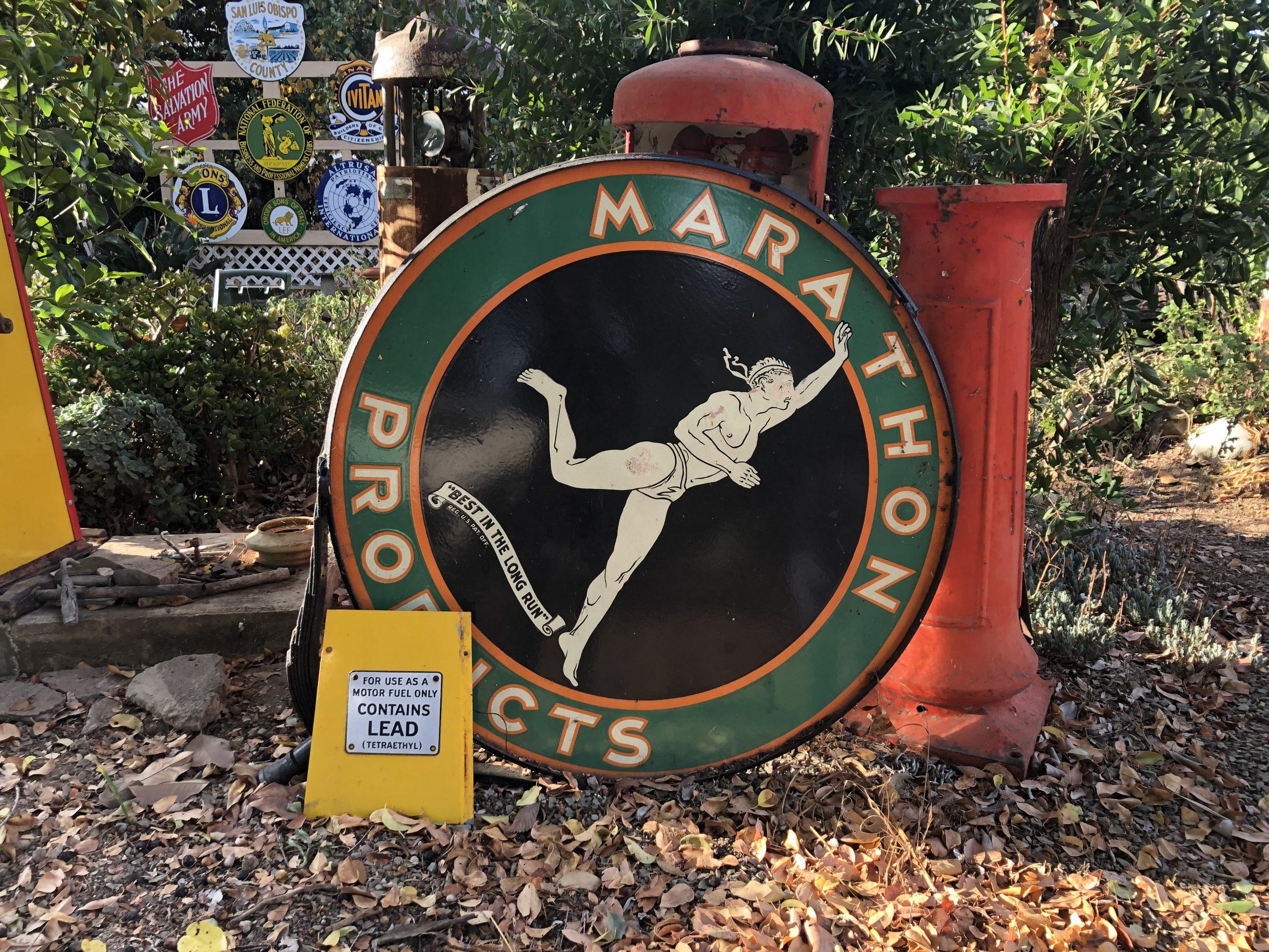vintage marathon products sign
