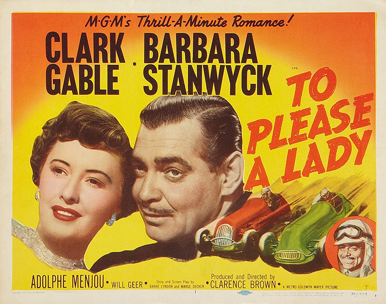 To Please A Lady Starring Clark Gable Barbara Stanwyck