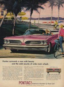 vintage pink pontiac ad
