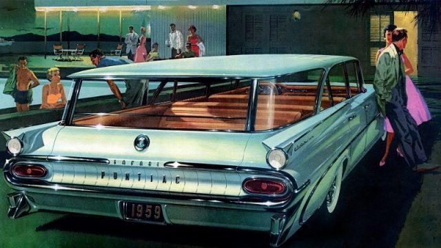 vintage pontiac wagon illustration