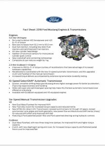 2018 Mustang Fact Sheet