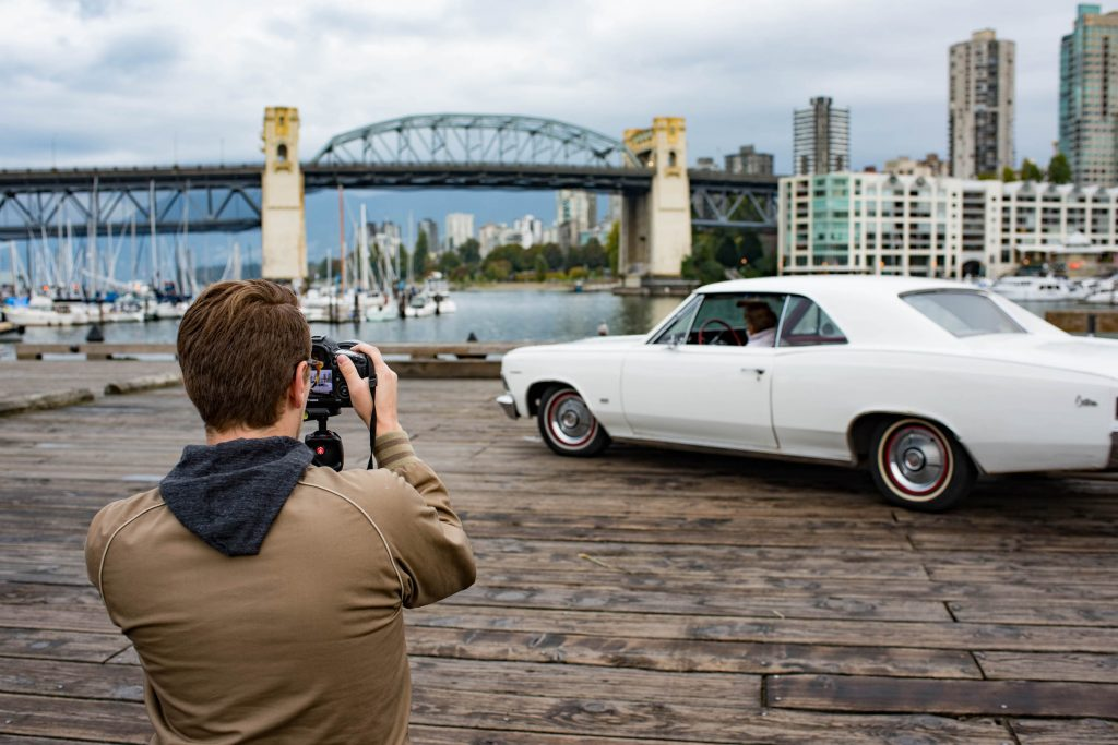 Photographer Shoots White Classic Car In Vancouver