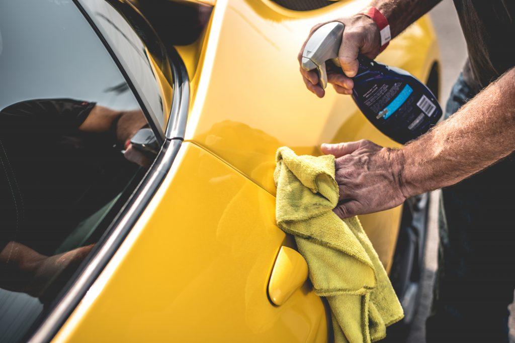 Detail Wiping Yellow Ferrari Door
